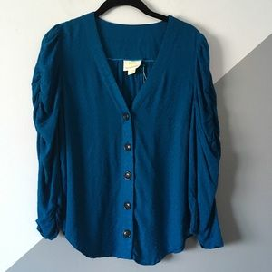 Maeve Anthro 6 Gathered Sleeve Button Top NWOT